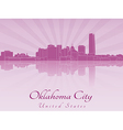 Oklahoma City skyline in radiant orchid vector image