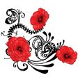red poppies backgound vector image vector image