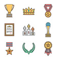 colored outline various awards symbols icons vector image