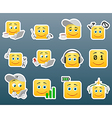 IT support worker smile stickers vector image vector image