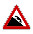 Slope warning sign for dogs vector image