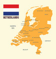 netherlands map with flag and english label vector image
