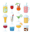 set of alcoholic drinks wine beer and cocktails vector image