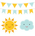 sun and cloud cartoons vector image