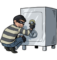 thief breaks into a safe vector image