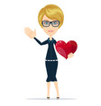 woman holding big red heart vector image