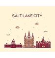 Salt Lake city skyline Utah linear style vector image