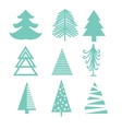 Creative green mint Christmas tree set vector image