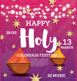 Happy holi celebration poster with neon lights vector image