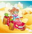 Little girl riding quad bike vector image