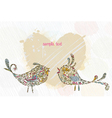 doodles background with colorful birds vector image vector image