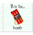 Flashcard alphabet B is for bomb vector image