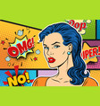 beautiful brunette woman pop art background vector image