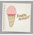 Doodle ice cream cone dessert vector image