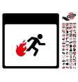 Fire Evacuation Man Calendar Page Flat Icon vector image