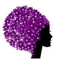 Floral girl silhouette with flowers vector image