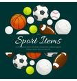 Sport items and balls label emblem vector image