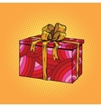 Red festive box tied with a gold ribbon vector image