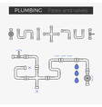 thin line icons of pipes and valves vector image