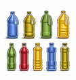 set colored big plastic bottles vector image