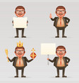 cute successful businessman cheerful king crown on vector image