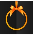 Orange round frame with silky bow and ribbon at vector image
