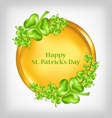 Golden coin with shamrocks St Patrick Day symbol vector image