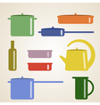 with kitchen shelves and cooking utensils vector image