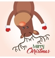 card christmas reindeer hanging greeting design vector image