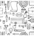 School seamless monochrome kids doodle pattern vector image