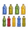 set colored big plastic bottles vector image