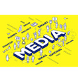 three dimensional word media with people vector image