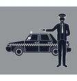 silhouette cab car driver working service public vector image