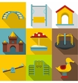 Children games icons set flat style vector image