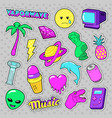 vaporwave fashion funky elements with heart vector image