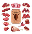 hand drawn meat elements set vector image