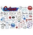 Coffee doodles vector image vector image
