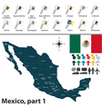 Mexico map with flags part 01 vector image