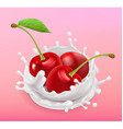 Cherry and milk splash Fruit and yogurt Realistic vector image