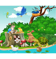 Cute animals living by the river vector image