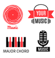 Set of four graphic monochrome music logotypes vector image