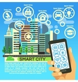 Smart city flat concept with internet thing vector image