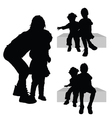 children siting silhouette vector image
