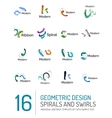 Logo collection ribbon waves swirls spirals vector image