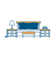 bed with nightstand color section silhouette on vector image