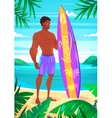 Surfing boy cartoon character Isolated vector image