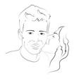 Girl kissing boy on the cheek vector image