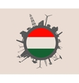 Circle with industrial silhouettes Hungary flag vector image