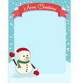 Merry Christmas Snowman Banner vector image