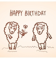 Happy birthday card Funny sheep girl and boy with vector image